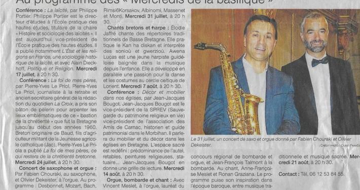 Article Ouest France Mercredis de la basilique Hennebont