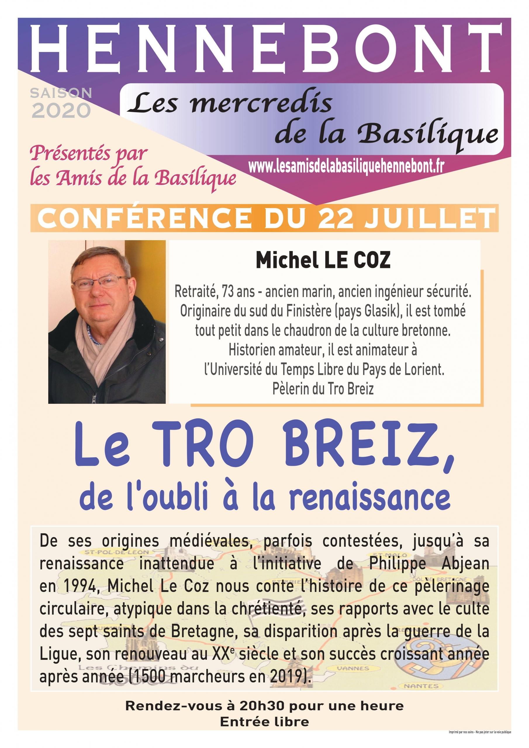 Conférence de Michel Le Coz - Mercredis de la Basilique Hennebont